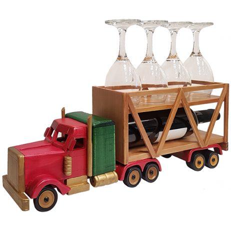 """""""סמי טריילר"""" משאית עתיק וינטג' מעץ בגוון מהגוני מעמד לבקבוק יין ו-4 כוסות מק""""ט: 4601 מסדרת מוצרי רטרו וינטג' משאית עתיק עבודת יד (היין והכוסות להמחשה בלבד) מידות: 49x9x18 ס""""מ"""