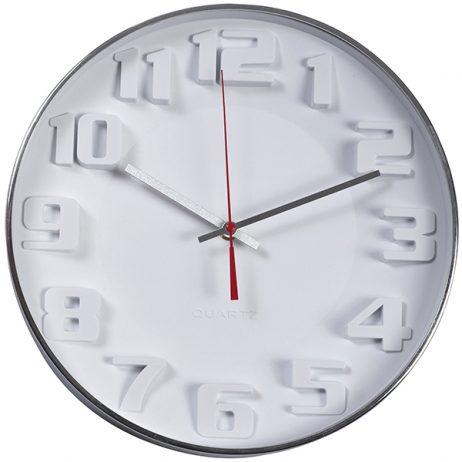 """""""ציריך"""" שעון קיר לבן עם ספרות תלת מימד מק""""ט: 2496 שעון קיר ספרות בולטות קוטר 34 ס""""מ"""