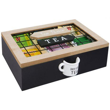 """""""ENJOY YOUR""""ENJOY YOUR TEA"""" מארז עץ לתה 4 תאים ידית בצורת ספל TEA"""""""